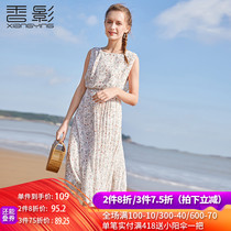 Floral chiffon dress female Xiangying 2019 summer new small fresh waist long sleeveless pleated skirt