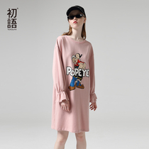 First language 2019 autumn new Popeye IP Series lotus leaf sleeve long section loose long-sleeved dress female