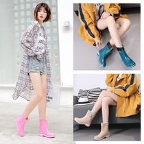 Non-slip waterproof fashion models water shoes womens boots short tube Korea cute adult wear tide rain shoes women plus cashmere warm