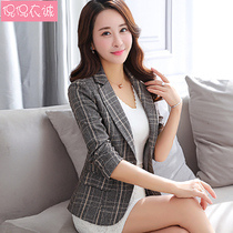 2019 spring new chic plaid small suit jacket female Korean slim ladies long-sleeved suit casual short paragraph