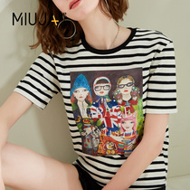 Miao Jia 2019 summer new Korean version of the fashion cartoon wind doll printing Stripes hit color short-sleeved round neck T-shirt female