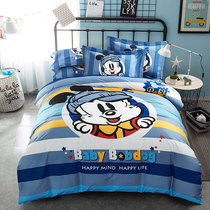 Babu beans cartoon cotton four-piece childrens dormitory boy 1 5 1 8 m sanding bedding