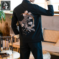 Spring new casual Tang mens Chinese style embroidered jacket Jacket youth tide big yards Han Men suit