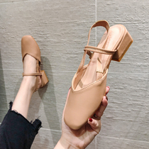 Baghead sandals womens 2019 summer new 100-carboun Korean version with fairy wind small fresh rough heel head Mary Jane