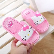 New childrens cartoon slippers cute boys and girls summer indoor home soft bottom slippers parent-child non-slip word drag