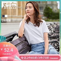 White V-neck hollow short-sleeved solid color cotton T-shirt female 2019 new summer fashion simple leisure machine shirt