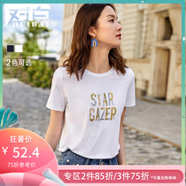 White round neck letter printing short-sleeved T-shirt female 2019 new summer tide embroidery cotton casual style coat