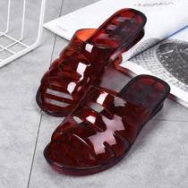 Crystal plastic slippers shoes summer slope with the trend of indoor home hollow plastic jelly color breathable non-slip sandals