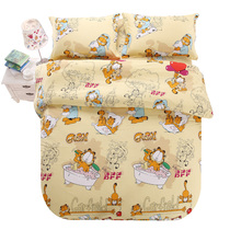 Love home Meng home textile cotton cartoon printed sheets four sets of cotton double single bed supplies specials