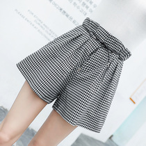 Shorts female Summer 2019 new Korean version of loose high waist was thin plaid pants student casual Wild a word wide leg pants