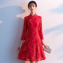 Plus size autumn and winter improved version of the qipao skirt Chinese style womens red dress fat sister was thin festive New Years dress