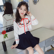 Girls shirt children shirt baby doll collar foreign air Korean 2019 new white little girl shirt long sleeve