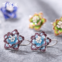 Hundred years Baocheng minority design ethnic ancient silver earrings decorated with high temperature enamel female 925 silver nail cloisonne