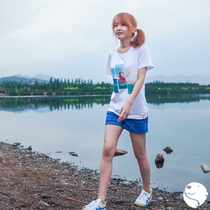 (Molisii Jasmine silk) hand-painted series TEE ice sea cotton spandex Female T-shirt polar bear short-sleeved