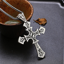 s925 silver jewelry retro Thai silver generous solid cross necklace pendant personality men's jewelry Tide men's pendant
