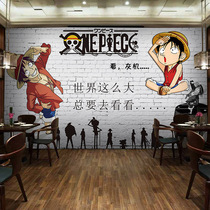 Retro cartoon Luffy art background wall painting theme restaurant wallpaper 3d mesh red wallpaper one piece male bedroom