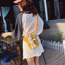 Canvas small bag female 2019 new Korean wild cartoon cute rabbit doll shoulder diagonal small square bag female
