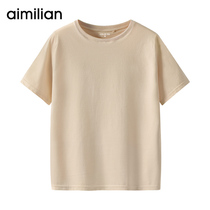 Amy Love T-shirt female short-sleeved loose 2019 summer new White ins half-sleeved cotton sleeves wild solid color buckle