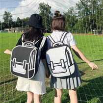 School bag female Korean Harajuku ulzzang high school students two dimensional 3D stereoscopic Department cute comic shoulder bag tide