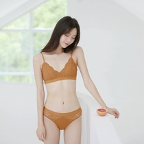 Mitu French No rims lace underwear female suit summer thin section Girl small chest triangle Cup sexy bra