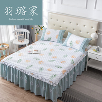 Korean version of the thick cotton quilt bedspread 2018 new bed skirt 15 lotus leaf single piece cotton 18 meters bed set