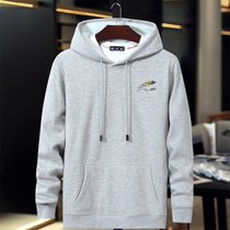 Men plus cashmere hoodie plus fat plus size loose thick sweater fat fat guy solid color cotton warm hooded jacket tide