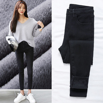 Plus velvet black cowboy pants female nine points 2018 spring and Autumn Winter new Korean version of the thin waist chic tight feet