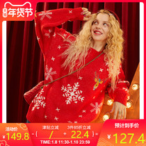 Leprechaun pocket red Christmas snowflake sweater 2019 autumn and Winter new women loose outer wear ins sweaters