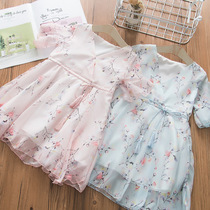 Super foreign girl princess skirt summer through the chiffon dress Children Summer Girl Korean version 2019 new floral