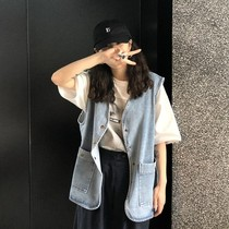 Retro fashion to do the old big pocket cowboy vest summer Section South Korea loose long section vest jacket Jacket