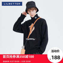 Lilbetter men's sweater spring and autumn ins Hong Kong wind line loose round neck hedging long-sleeved sweater Tide brand