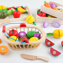 Childrens fruits and vegetables cut music toy set boys and girls baby cooking kitchen home toy Velcro