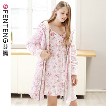 Fen Teng autumn and Winter new pajamas thick coral velvet robe sexy dress skirt home service bathrobe two-piece suit