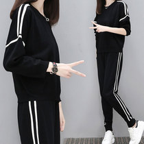Large size women fat mm2019 autumn new style cover belly two sets of fat sister was thin sweater suit