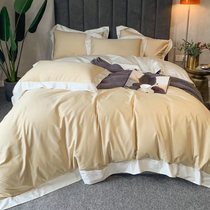 Real shot 60 Egyptian plush cotton Nordic simple cotton satin four-piece soft and smooth cotton bedding