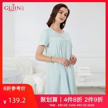 Ancient and modern soft and comfortable sleeping skirt female short-sleeved summer pajamas can wear home service thin section 7K135