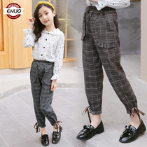 Childrens clothing girls pants spring 2019 New Children Korean casual pants in large childrens plaid trousers wear