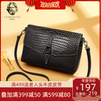Old man head leather bag female bag new 2019 fashion middle-aged mother single shoulder black crocodile line cross-body bag