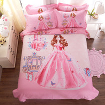 Princess four-piece cotton Barbie Girl brushed bedding childrens cartoon quilt cover sheets three sets of bed Li