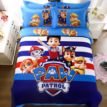 Cartoon childrens bed four-piece boy cotton 1 8m bed linen quilt puppy cotton cute three-piece
