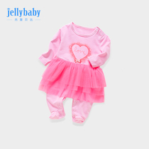 Baby with feet jumpsuit 3-9 months newborn toddler Princess clothes baby autumn clothes 6 women treasure full moon