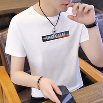 Short-sleeved T-shirt summer mens round neck 2019 summer new slim trend white shirt student half-sleeved mens T-shirt