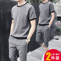 Summer mens short-sleeved T-shirt Korean casual sports suit 2019 New two-piece pants pants