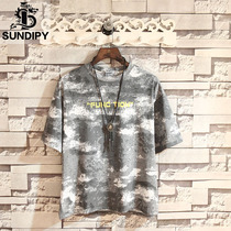 sundipy loose mens short T summer camouflage fashion letters student T-shirt casual Tide men round neck short sleeve