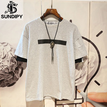 sundipy mens summer Japanese ins round neck short-sleeved T-shirt casual fake two-piece trend mens youth compassionate