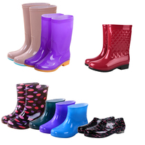 Rain boots womens adult water shoes rain boots short tube high tube womens fashion non-slip shoes waterproof low to help gold shoes