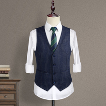 Mens suit vest summer business casual vest male wedding groom wedding dress dress striped British style
