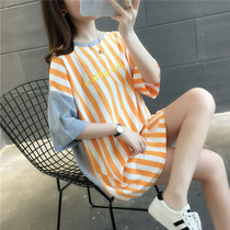 2019 summer new Korean version of the wild in the long section of the fashion round neck fight color striped short-sleeved T-shirt female loose tide