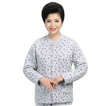 Middle-aged and elderly women's printing three-layer thick padded cotton underwear cardigan XL clip cotton jacket cotton jacket