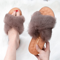 Plush slippers female wear 2019 new summer fashion wild Korean version of the trend of red thick sandals slippers ladies